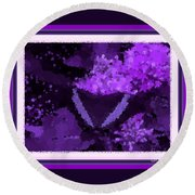 Polka Dot Butterfly Purple Round Beach Towel