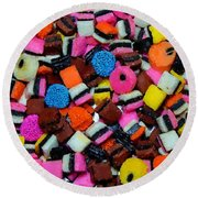 Polka Dot Colorful Candy Round Beach Towel