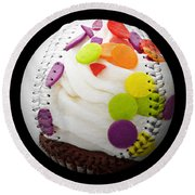 Polka Dot Cupcake Baseball Square Round Beach Towel