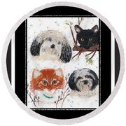 Polka Dot Family Pets With Borders - Whimsical Art Round Beach Towel