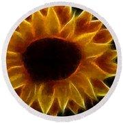 Polka Dot Glowing Sunflower Round Beach Towel