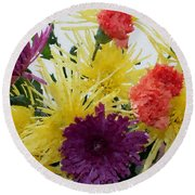 Polka Dot Mums And Carnations Round Beach Towel
