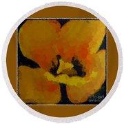 Polka Dot Yellow Blooming Tulip Round Beach Towel