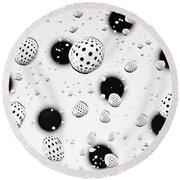 Polka Dots And Water Drops Round Beach Towel