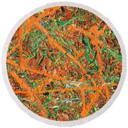 Pollock's Carrots Round Beach Towel