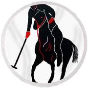 Polo Player Round Beach Towel