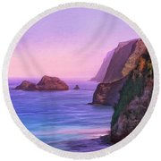 Pololu Valley Sunset Round Beach Towel