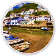 Polperro At Low Tide Round Beach Towel