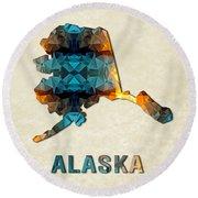 Polygon Mosaic Parchment Map Alaska Round Beach Towel