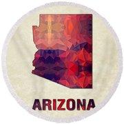 Polygon Mosaic Parchment Map Arizona Round Beach Towel