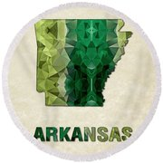 Polygon Mosaic Parchment Map Arkansas Round Beach Towel