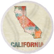 Polygon Mosaic Parchment Map California Round Beach Towel
