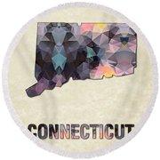 Polygon Mosaic Parchment Map Connecticut Round Beach Towel
