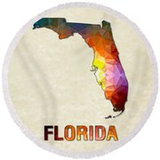 Polygon Mosaic Parchment Map Florida Round Beach Towel