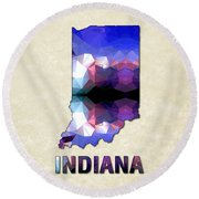Polygon Mosaic Parchment Map Indiana Round Beach Towel