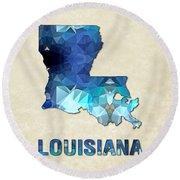 Polygon Mosaic Parchment Map Louisiana Round Beach Towel