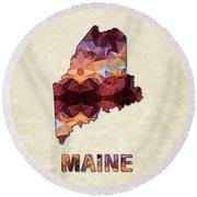 Polygon Mosaic Parchment Map Maine Round Beach Towel