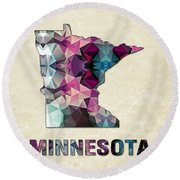 Polygon Mosaic Parchment Map Minnesota Round Beach Towel
