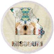 Polygon Mosaic Parchment Map Missouri Round Beach Towel