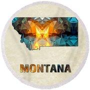 Polygon Mosaic Parchment Map Montana Round Beach Towel