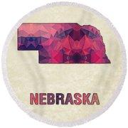 Polygon Mosaic Parchment Map Nebraska Round Beach Towel