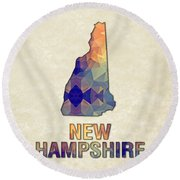 Polygon Mosaic Parchment Map New Hampshire Round Beach Towel