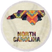 Polygon Mosaic Parchment Map North Carolina Round Beach Towel