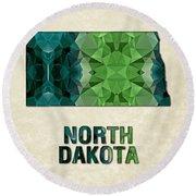 Polygon Mosaic Parchment Map North Dakota Round Beach Towel