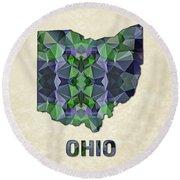 Polygon Mosaic Parchment Map Ohio Round Beach Towel