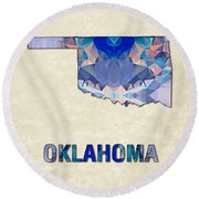 Polygon Mosaic Parchment Map Oklahoma Round Beach Towel