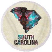 Polygon Mosaic Parchment Map South Carolina Round Beach Towel