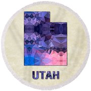 Polygon Mosaic Parchment Map Utah Round Beach Towel