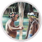 Polynesian Men With Spears Round Beach Towel