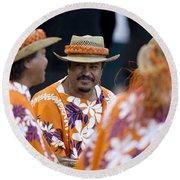 Polynesian Musicians Round Beach Towel