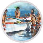 Polynesian Vahines Around Canoe Round Beach Towel