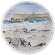 Polzeath And Pentire Head Round Beach Towel