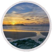 Polzeath Sunset 3 Round Beach Towel
