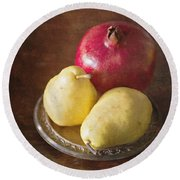 Pomegranate And Yellow Pear Still Life Round Beach Towel