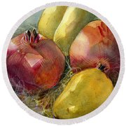Pomegranates And Pears Round Beach Towel by Jen Norton