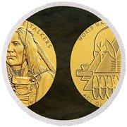 Ponca Tribe Code Talkers Bronze Medal Art Round Beach Towel