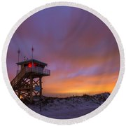 Ponce Inlet Beach Guard Tower Round Beach Towel