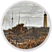 Ponce Inlet Lighthouse From The Dunes Round Beach Towel