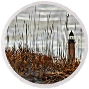 Ponce Inlet Lighthouse In Sea Grass Round Beach Towel