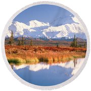 Pond, Alaska Range, Denali National Round Beach Towel