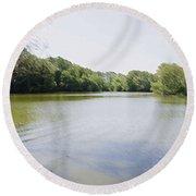 Pond At Norfolk Botanical Garden 9 Round Beach Towel