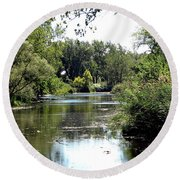 Pond At Tifft Nature Preserve Buffalo New York  Round Beach Towel