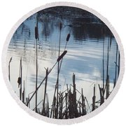 Pond At Twilight Round Beach Towel