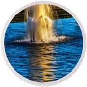Pond Fountain Round Beach Towel by Robert Bales