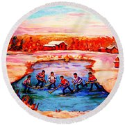 Pond Hockey Game By Montreal Hockey Artist Carole Spandau Round Beach Towel