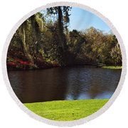 Pond In A Garden, Middleton Place Round Beach Towel